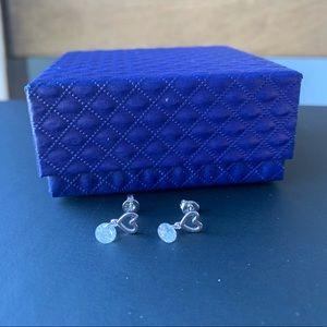 925 sliver Hollow zircon heart shaped earring